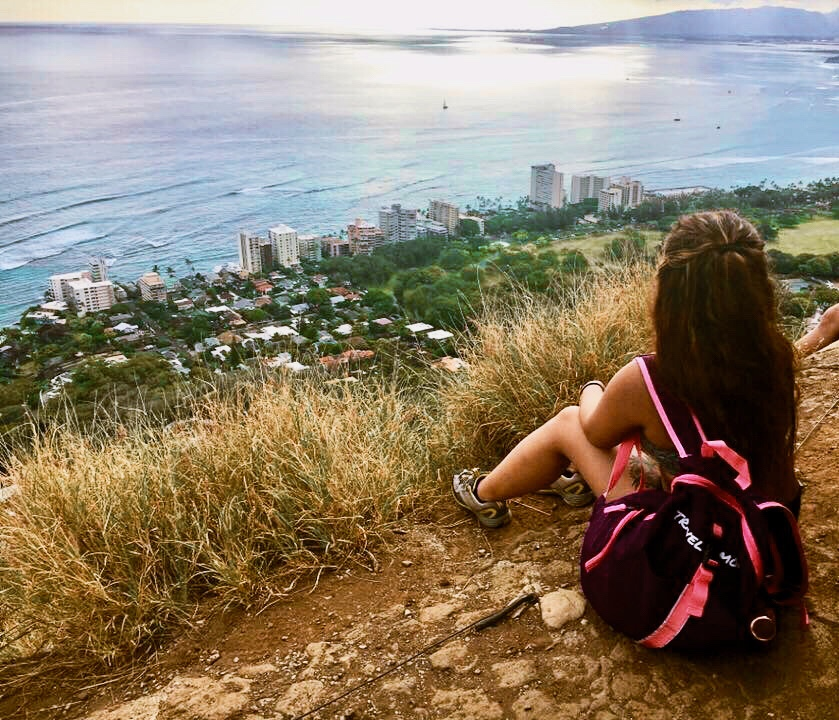 Overlooking Waikiki in the Diamond Head Crater Hike