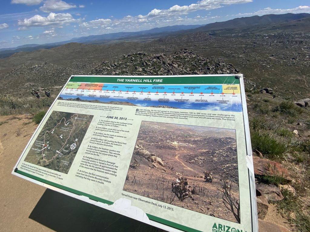 Plaque board about the Yarnell Hill Fire at Granite Mountain Hotshots Memorial State Park