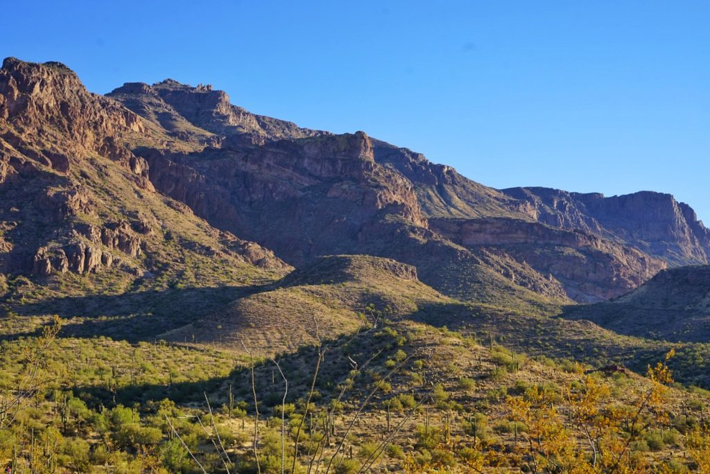 Hieroglyphics Trail, showing a landscape of the Superstition Mountains