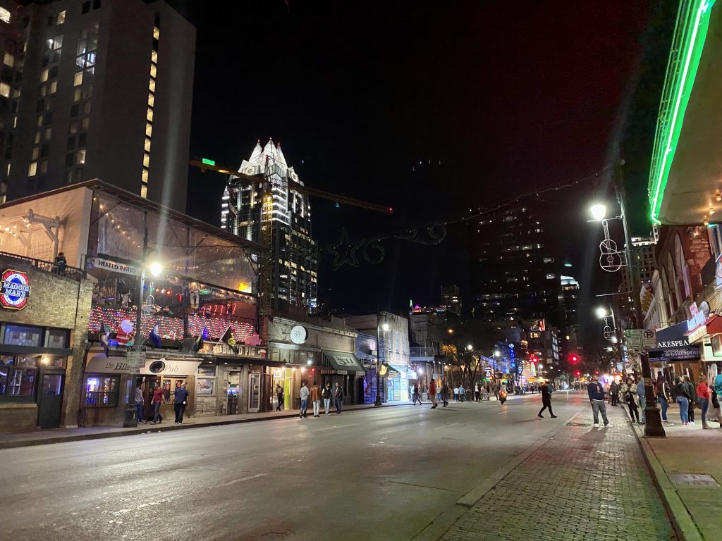 6th Street night view at Austin, Texas