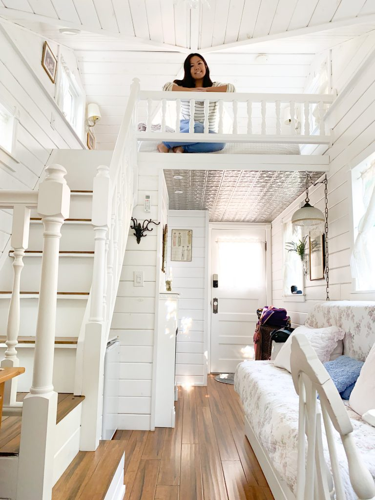 Victorian Cottage Tiny Home in Tiny Digs Hotel at Portland, Oregon with blogger Gabrielle Sales