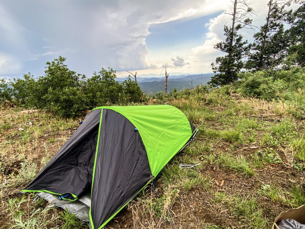 One-person camping tent set up outside on the Mogollon Rim