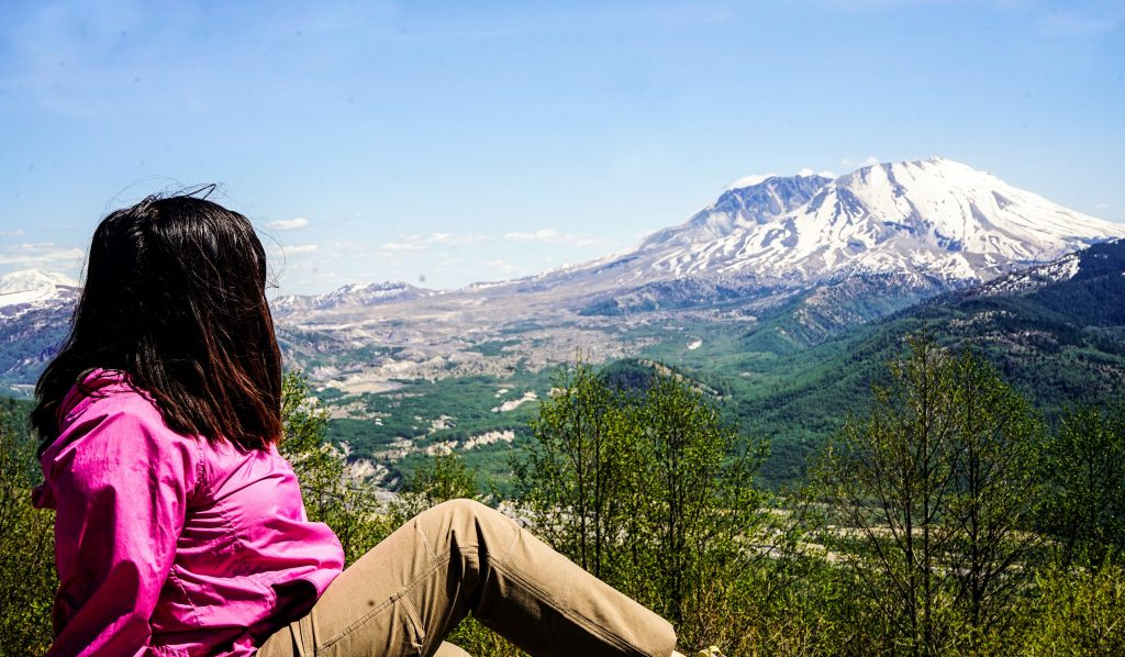 Blogger Gabrielle Sales in front of Mount St. Helens
