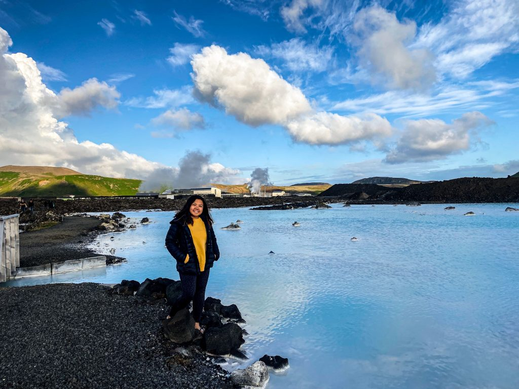 Blogger Gabrielle Sales is hanging outside of Blue Lagoon and by the powerplant named Svartsengi