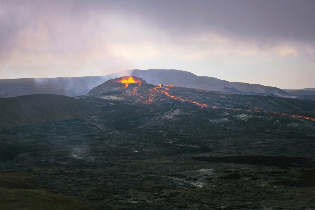 Lava flowing out of Fagradalsfjall Volcano
