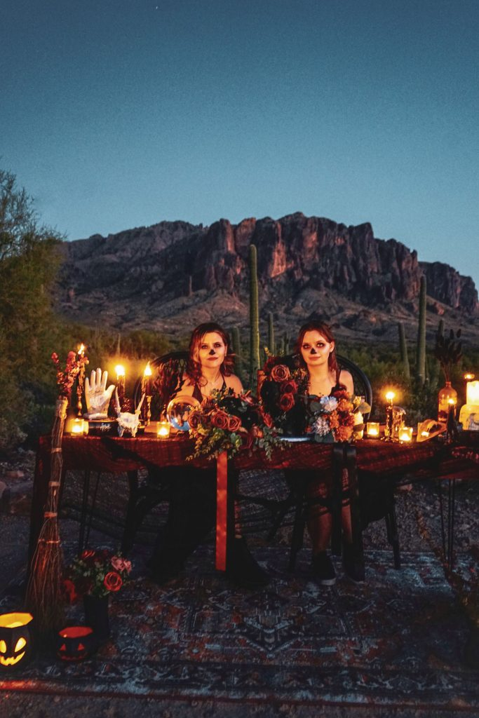 Spooky halloween photo shoot done in the Superstition Mountains with two models